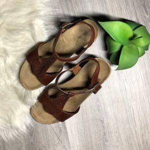 Nicole Brown Wedge Sandals